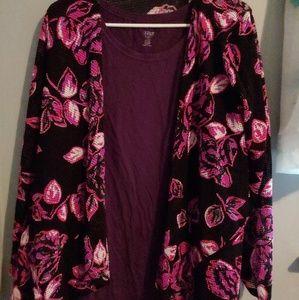 3x long sleeve shirt with kimono